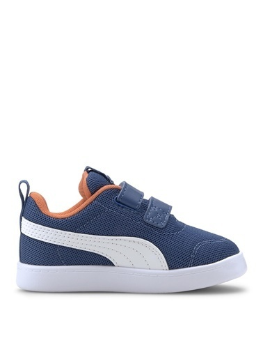 Puma Puma 37175901 Courtflex v2 Mesh Mavi - Turuncu Erkek Çocuk Yürüyüş Ayakkabısı Mavi